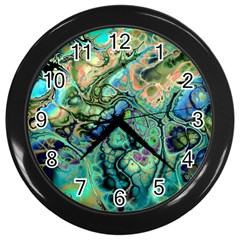 Fractal Batik Art Teal Turquoise Salmon Wall Clocks (Black)