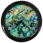 Fractal Batik Art Teal Turquoise Salmon Wall Clocks (Black) Front