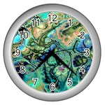 Fractal Batik Art Teal Turquoise Salmon Wall Clocks (Silver)  Front