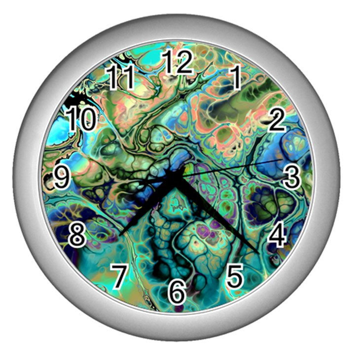 Fractal Batik Art Teal Turquoise Salmon Wall Clocks (Silver)