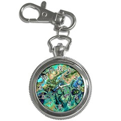 Fractal Batik Art Teal Turquoise Salmon Key Chain Watches