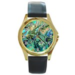 Fractal Batik Art Teal Turquoise Salmon Round Gold Metal Watch Front