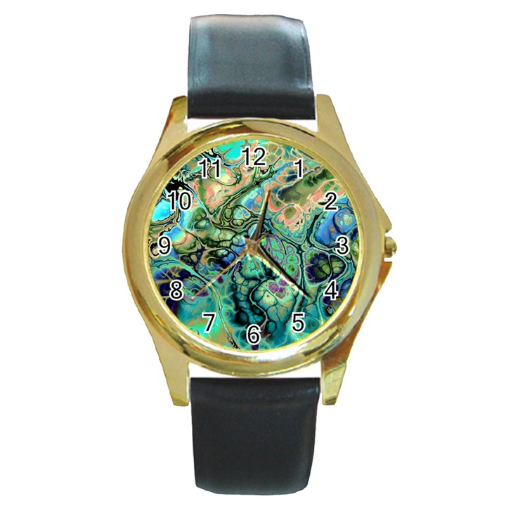Fractal Batik Art Teal Turquoise Salmon Round Gold Metal Watch