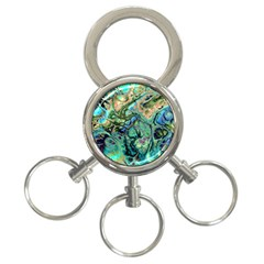 Fractal Batik Art Teal Turquoise Salmon 3-Ring Key Chains