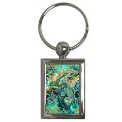 Fractal Batik Art Teal Turquoise Salmon Key Chains (Rectangle)