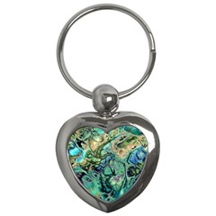 Fractal Batik Art Teal Turquoise Salmon Key Chains (Heart)