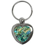 Fractal Batik Art Teal Turquoise Salmon Key Chains (Heart)  Front
