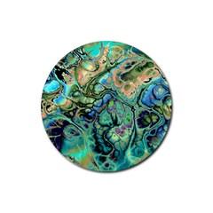 Fractal Batik Art Teal Turquoise Salmon Rubber Coaster (round)