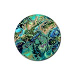 Fractal Batik Art Teal Turquoise Salmon Rubber Round Coaster (4 pack)  Front