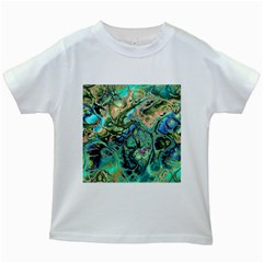 Fractal Batik Art Teal Turquoise Salmon Kids White T Shirts