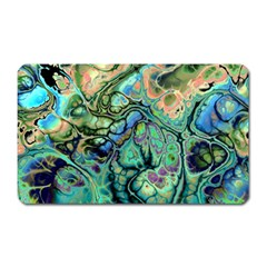 Fractal Batik Art Teal Turquoise Salmon Magnet (Rectangular)