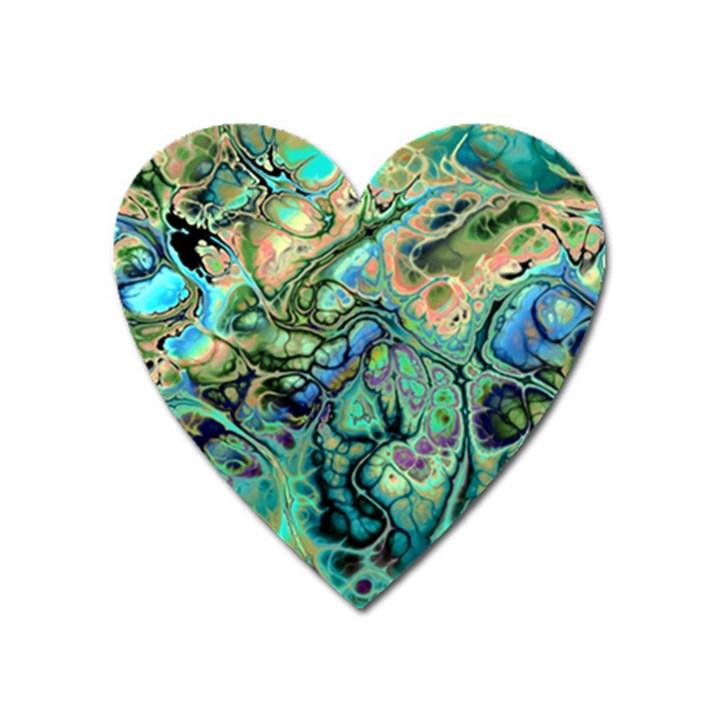 Fractal Batik Art Teal Turquoise Salmon Heart Magnet