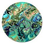 Fractal Batik Art Teal Turquoise Salmon Magnet 5  (Round) Front