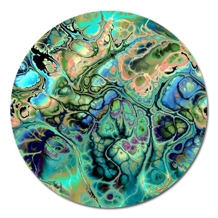 Fractal Batik Art Teal Turquoise Salmon Magnet 5  (Round)