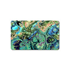 Fractal Batik Art Teal Turquoise Salmon Magnet (Name Card)