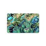 Fractal Batik Art Teal Turquoise Salmon Magnet (Name Card) Front