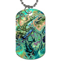 Fractal Batik Art Teal Turquoise Salmon Dog Tag (one Side)