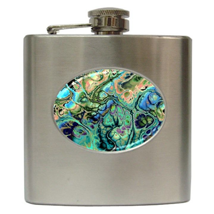 Fractal Batik Art Teal Turquoise Salmon Hip Flask (6 oz)