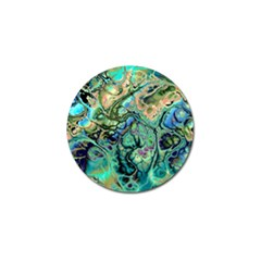 Fractal Batik Art Teal Turquoise Salmon Golf Ball Marker