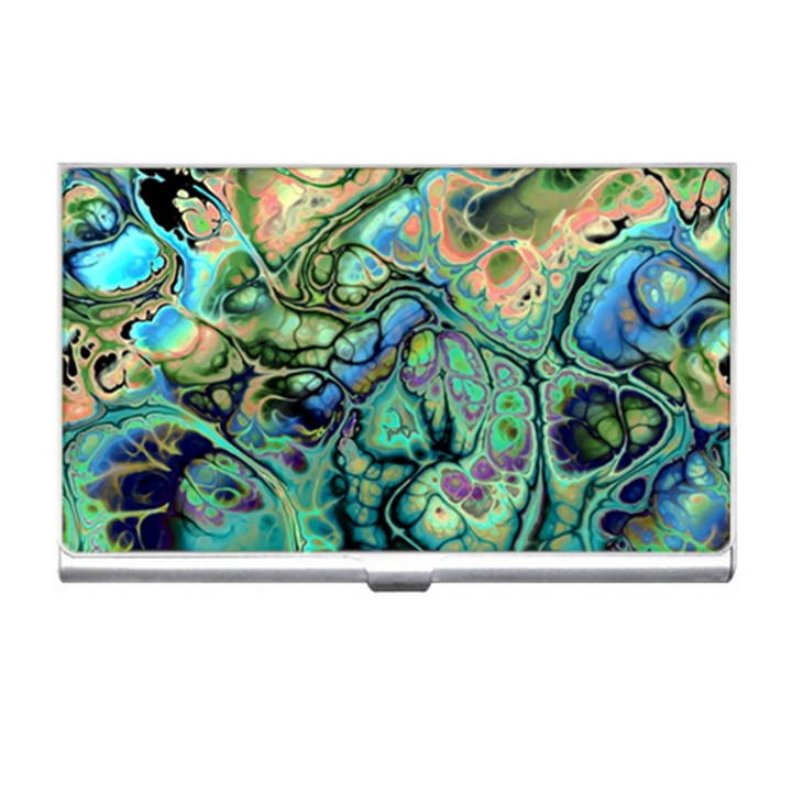 Fractal Batik Art Teal Turquoise Salmon Business Card Holders