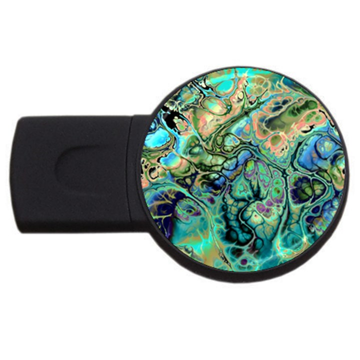Fractal Batik Art Teal Turquoise Salmon USB Flash Drive Round (2 GB)