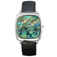 Fractal Batik Art Teal Turquoise Salmon Square Metal Watch