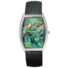 Fractal Batik Art Teal Turquoise Salmon Barrel Style Metal Watch