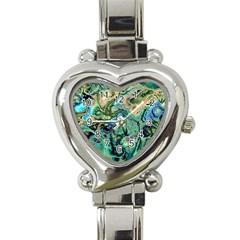 Fractal Batik Art Teal Turquoise Salmon Heart Italian Charm Watch