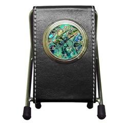 Fractal Batik Art Teal Turquoise Salmon Pen Holder Desk Clocks