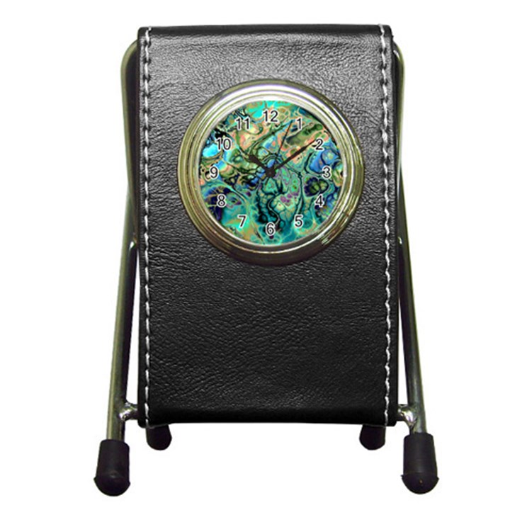 Fractal Batik Art Teal Turquoise Salmon Pen Holder Desk Clocks