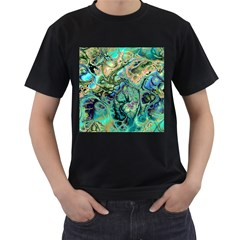 Fractal Batik Art Teal Turquoise Salmon Men s T-Shirt (Black) (Two Sided)