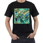 Fractal Batik Art Teal Turquoise Salmon Men s T-Shirt (Black) (Two Sided) Front