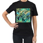 Fractal Batik Art Teal Turquoise Salmon Women s T-Shirt (Black) (Two Sided) Front