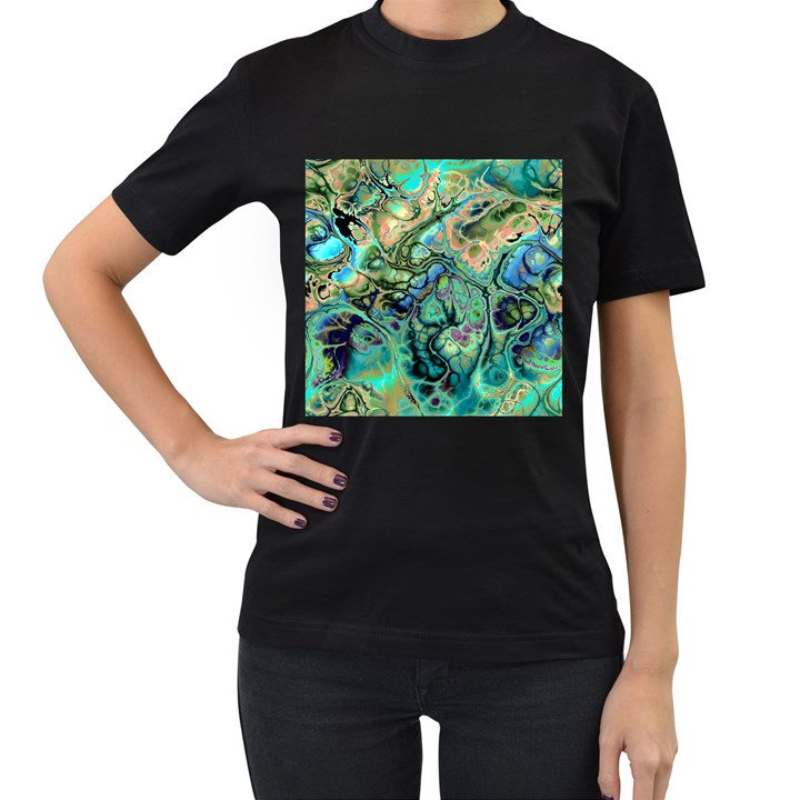 Fractal Batik Art Teal Turquoise Salmon Women s T-Shirt (Black) (Two Sided)