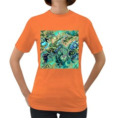 Fractal Batik Art Teal Turquoise Salmon Women s Dark T Shirt