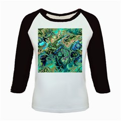 Fractal Batik Art Teal Turquoise Salmon Kids Baseball Jerseys