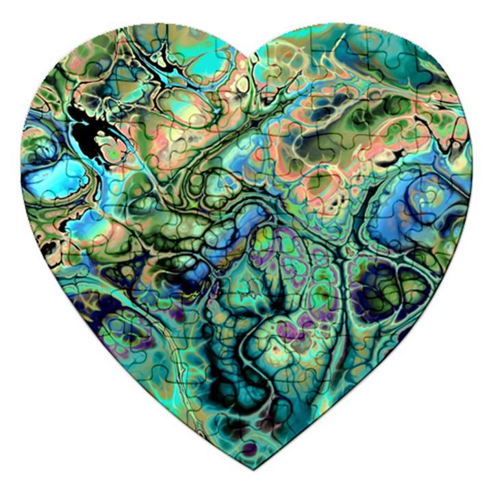 Fractal Batik Art Teal Turquoise Salmon Jigsaw Puzzle (Heart)