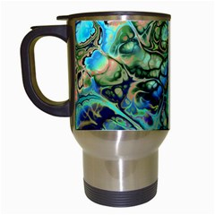 Fractal Batik Art Teal Turquoise Salmon Travel Mugs (white)