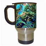 Fractal Batik Art Teal Turquoise Salmon Travel Mugs (White) Left