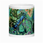 Fractal Batik Art Teal Turquoise Salmon Morph Mugs Center