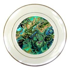 Fractal Batik Art Teal Turquoise Salmon Porcelain Plates