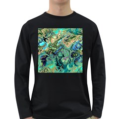 Fractal Batik Art Teal Turquoise Salmon Long Sleeve Dark T Shirts
