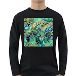 Fractal Batik Art Teal Turquoise Salmon Long Sleeve Dark T-Shirts Front