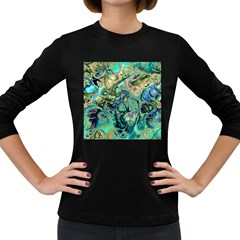Fractal Batik Art Teal Turquoise Salmon Women s Long Sleeve Dark T Shirts