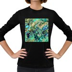 Fractal Batik Art Teal Turquoise Salmon Women s Long Sleeve Dark T-Shirts Front