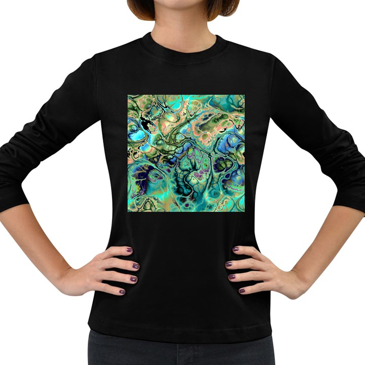 Fractal Batik Art Teal Turquoise Salmon Women s Long Sleeve Dark T-Shirts