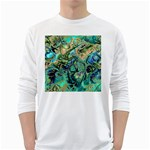 Fractal Batik Art Teal Turquoise Salmon White Long Sleeve T-Shirts Front