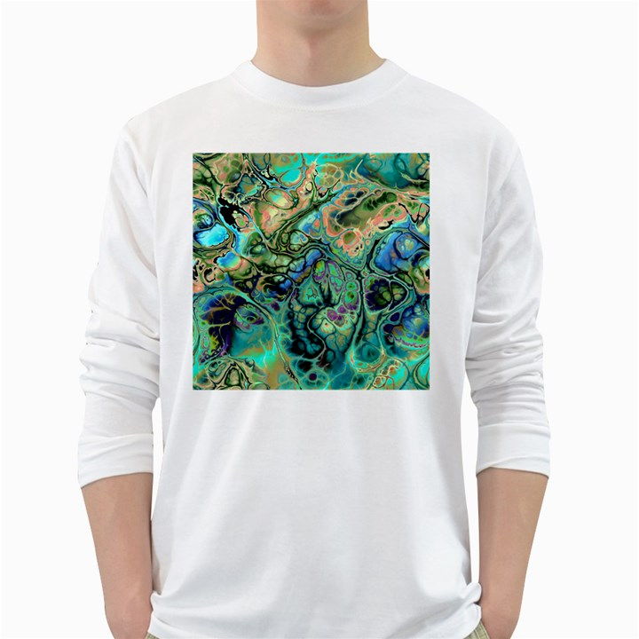 Fractal Batik Art Teal Turquoise Salmon White Long Sleeve T-Shirts