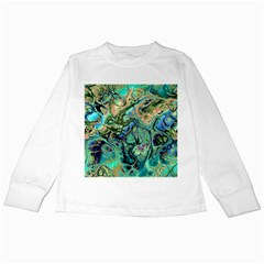 Fractal Batik Art Teal Turquoise Salmon Kids Long Sleeve T Shirts
