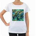 Fractal Batik Art Teal Turquoise Salmon Women s Loose-Fit T-Shirt (White) Front